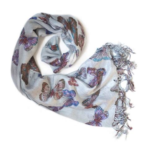 Scarf Printing 3037 light blue butterfly print scarf from the source