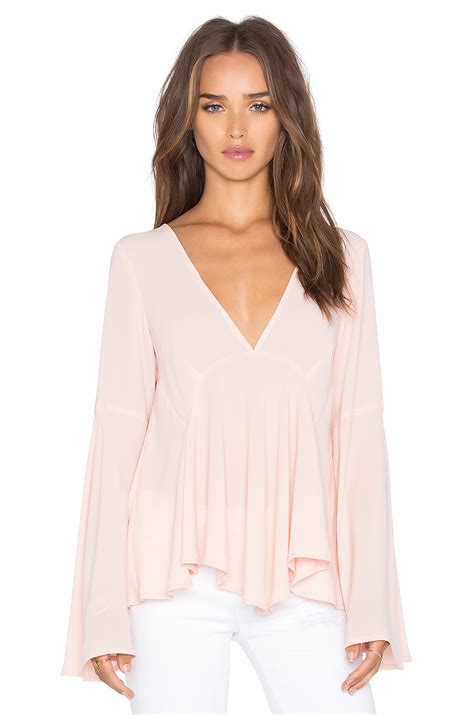 Bell Sleeve Top Original lyst bell sleeve top in pink