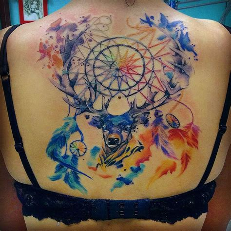 watercolor tattoo deer deer the dreamcatcher back tattoos