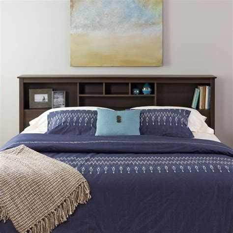 King Storage Headboard by Prepac Manhattan King Bookcase Headboard In Espresso