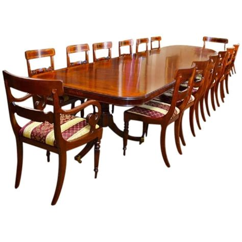 14 Dining Table 14 Ft Three Pillar Mahogany Dining Table And 14 Chairs