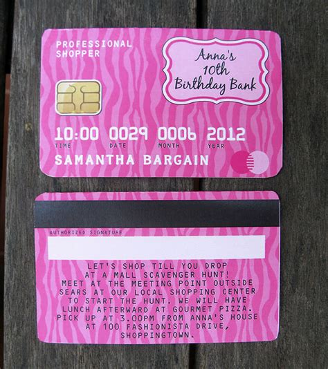 Credit Card Birthday Invitation Template Mall Scavenger Hunt Invitations Birthday Decorations