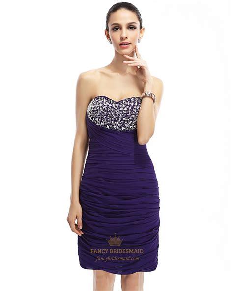 Purple Strapless Dress purple strapless sweetheart embellished bodice chiffon