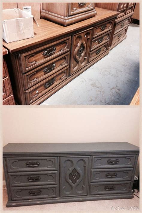 antique thrift store dresser 50 painted with sand folk chalk paint and distressed