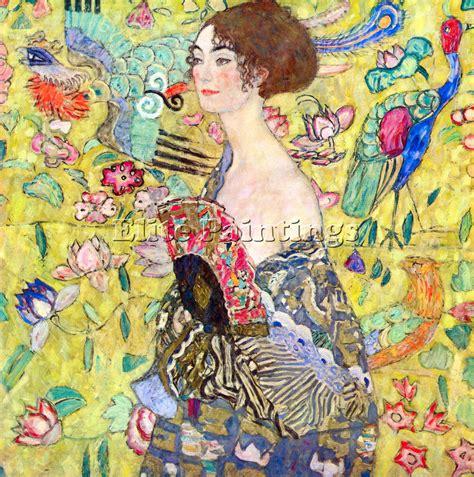 gustav klimt lady with fan gustav klimt lady with fan by klimt artiste tableau sur