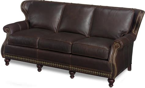 New Leather Sofa Wood Brown Leather Upholstered Wing Leather Sofa Nailhead