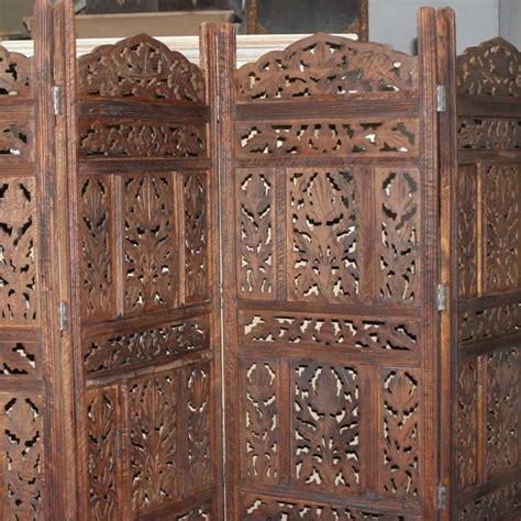 indian room divider carved indian partition screen room divider brown