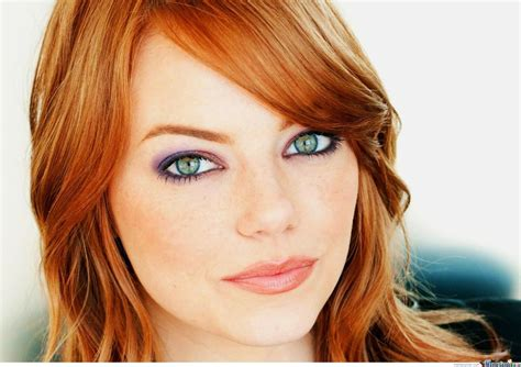 actress with red hair green eyes emma stone looks hotter as a red head by leoramen meme