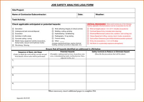 jha form template hazard analysis form apa exles