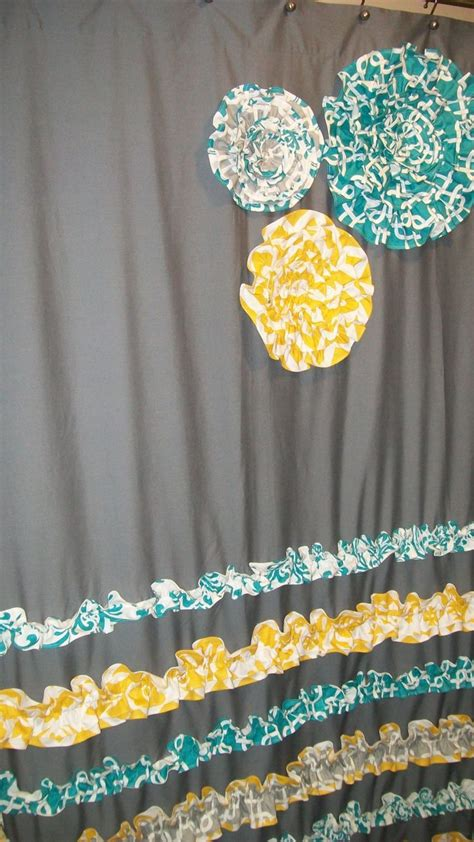 turquoise ruffle curtains window panel curtain custom made designer fabric ruffles