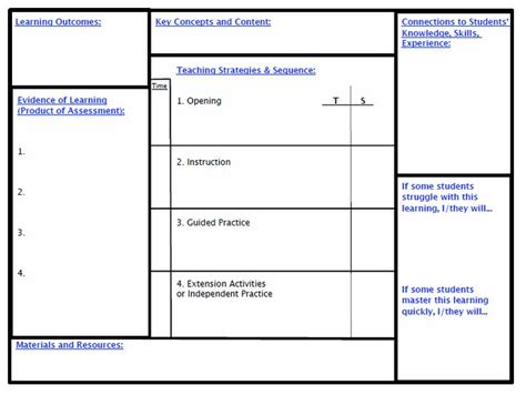 Backward Planning Template     Updated Backwards lesson