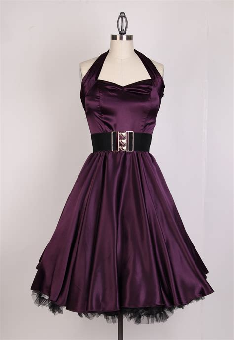 Swing Dresses by Vintage Bright Halterneck Satin Swing Dress Plum 81205
