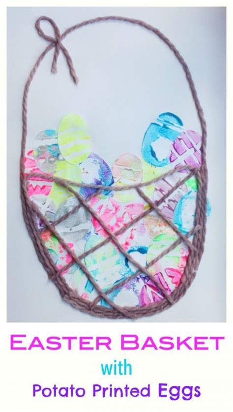 easter basket crafts for easter basket with potato printed eggs this is such a