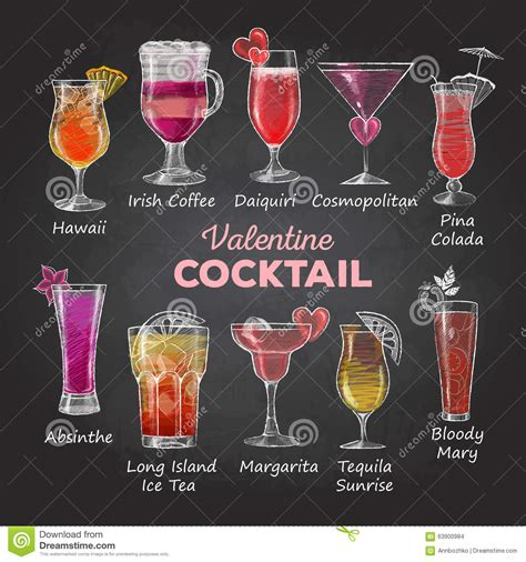 cosmopolitan drink drawing valentine cocktail menu stock photo image of chalk