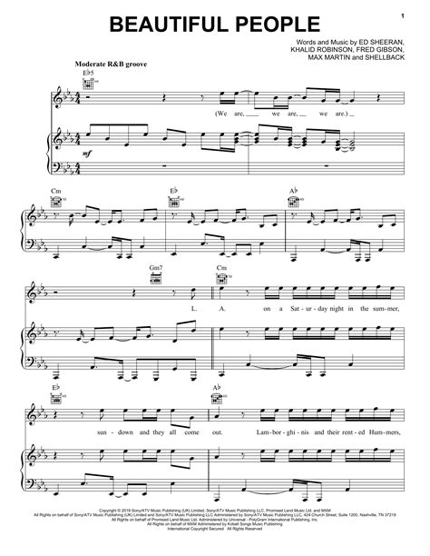 Ed Sheeran - Beautiful People (feat. Khalid) sheet music