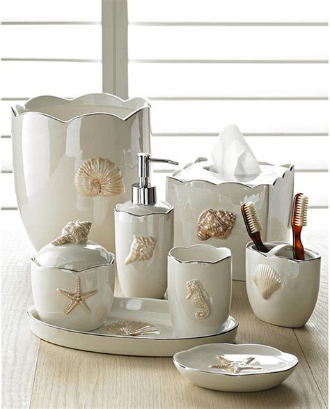 Marie Shells In Pearl Bath Accessories Sets Coastal Style Bathroom Accessories Sets