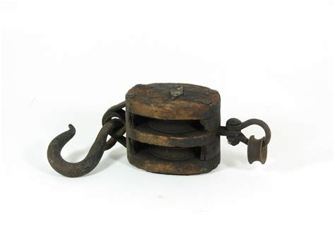 Vintage Wood Pulley Cast Iron Hook & Double by BridgewoodPlace