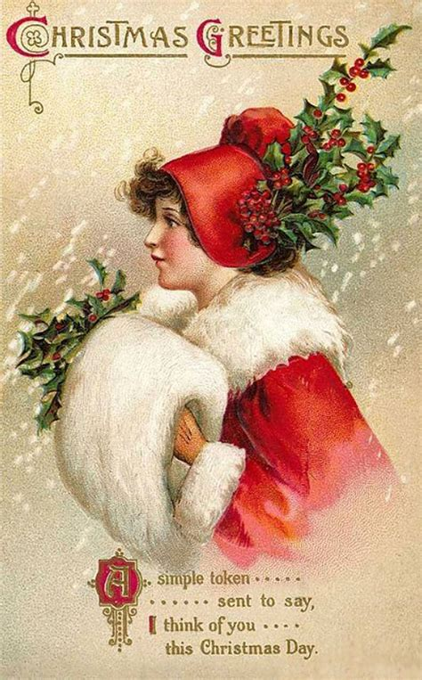 images of victorian christmas cards victorian girl with holly and muff the doodle place