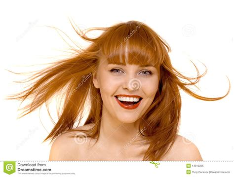 which hair is better happy hair or boojie young red hair happy woman smile isolated stock image