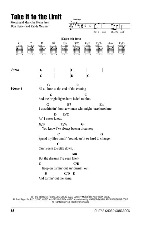guitar tutorial eagles take it to the limit by eagles guitar chords lyrics