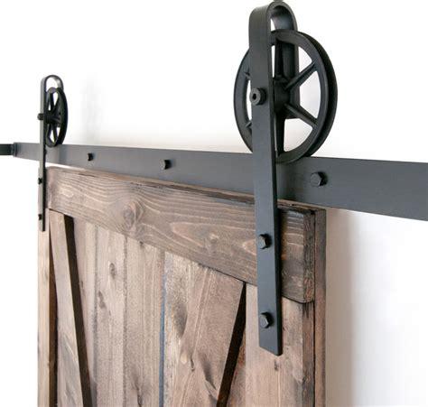 Industrial Spoked European Sliding Door Hardware Set Vintage Barn Door Hardware