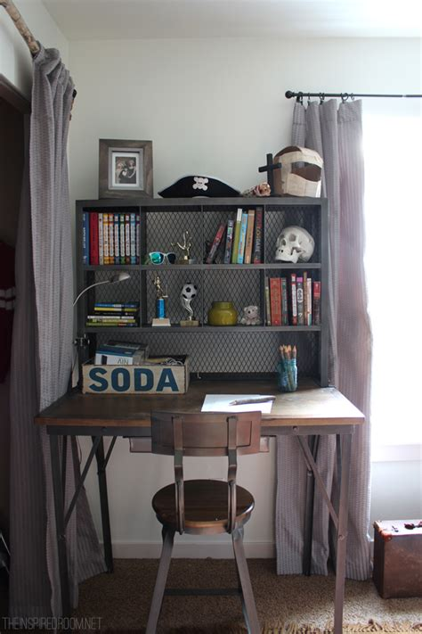 desk in small bedroom boy s small bedroom an update industrial desk