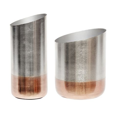 modern set of 2 silver and copper vase design by hubsch