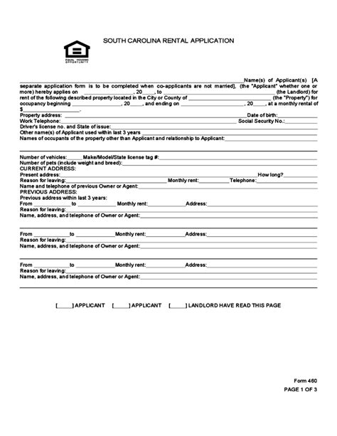 Of South Carolina Mba Application by South Carolina Rental Application Free