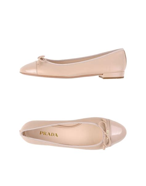beige ballet slippers prada ballet flats in beige lyst