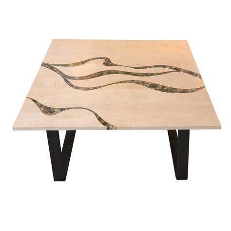 artisan made maple and river rock coffee table for sale at