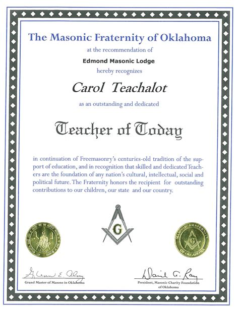 certificate of appreciation for teachers template 8 best images of free masonic certificate of appreciation