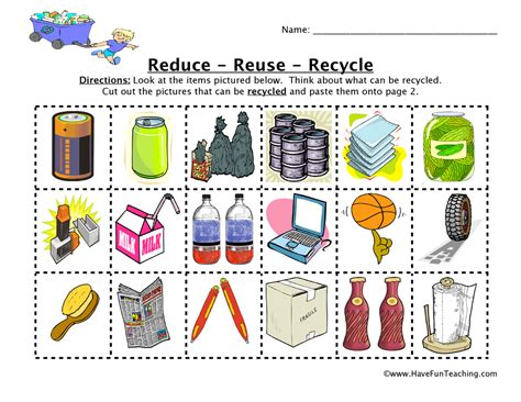 Recycling Worksheets by Reduce Reuse Recycle Worksheet Teaching
