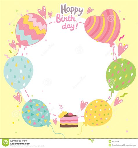 birthday card balloon template happy birthday card background with balloons stock vector