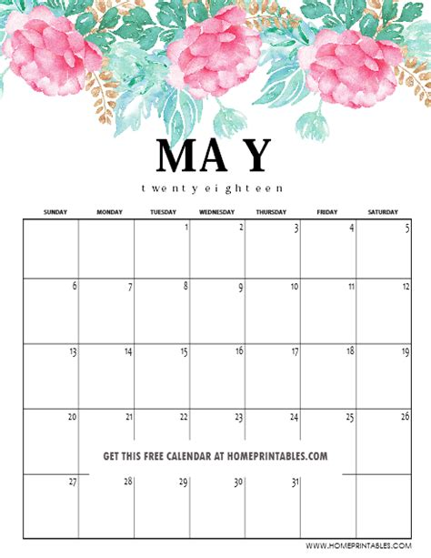 printable calendar 2018 with designs may 2018 calendar printable 10 amazing designs home