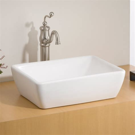 white bathroom sinks shop cheviot riviera white vessel rectangular bathroom sink at lowes com