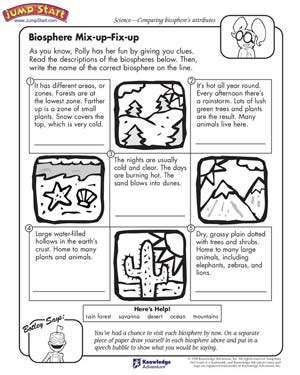 Biosphere Worksheet biosphere mix up fix up 3rd grade science worksheets