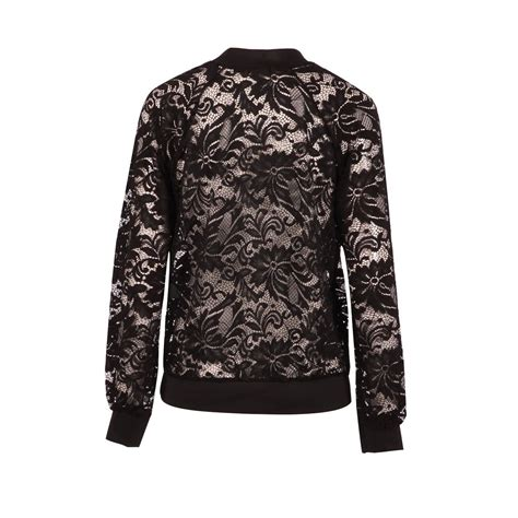 Lace Zip Jacket womens sleeve zip front floral lace casual