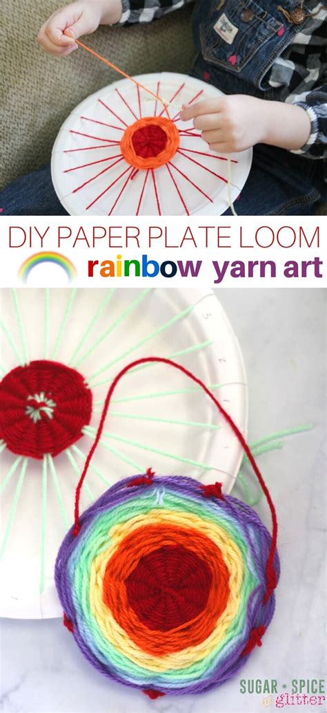 the craft project diy paper plate loom rainbow yarn sugar spice and