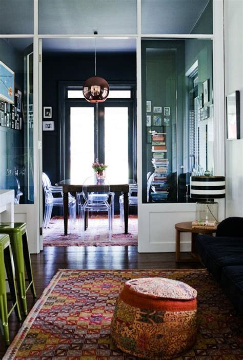 Dining Room Kilim Rug Kilim Walls Copper L Ghost Chairs Black And