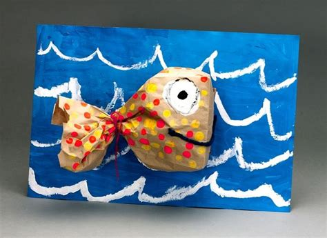 Paper Bag Fish Craft - create your own fish with paper lunch bags paint