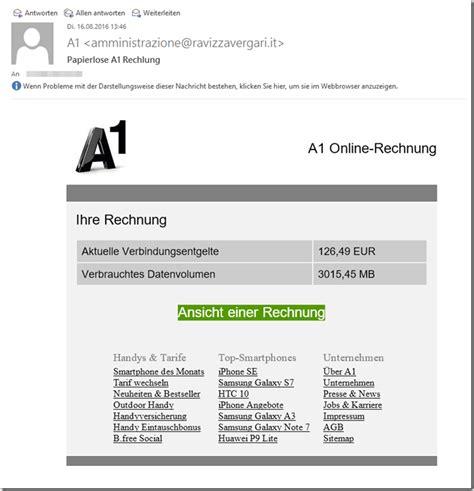 Kleinunternehmer Rechnung Per Mail Trojaner Warnung Gef 228 Lschte A1 Rechnung Mimikama