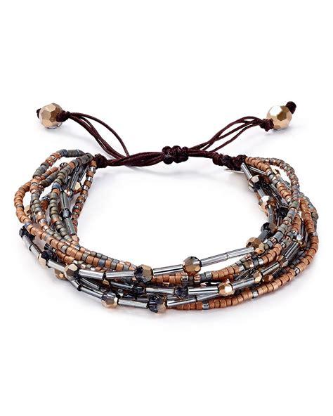 how to tie a bead bracelet chan luu beaded pull tie bracelet in silver silver