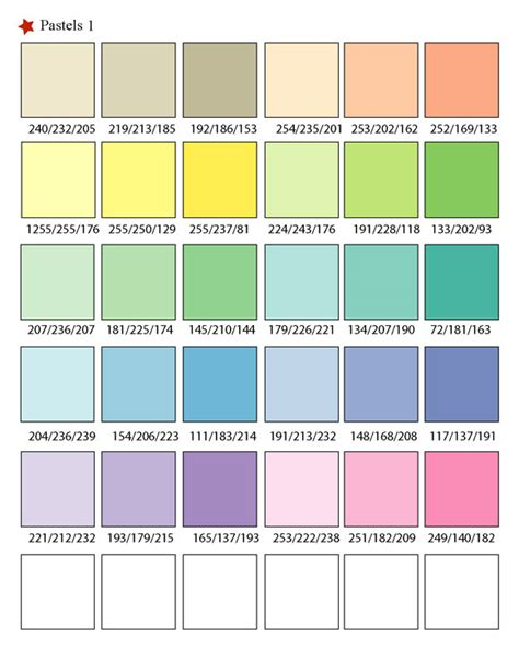 pastel colors list printable rgb color palette swatches my practical skills