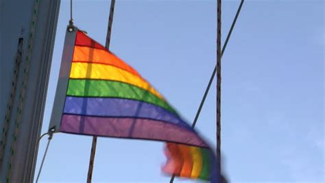 gay boat flags gay rainbow flag on sailing boat stock footage video