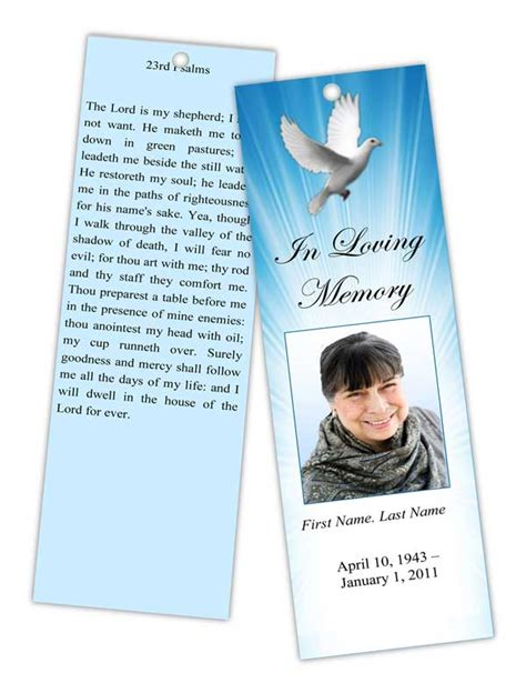 Funeral Bookmarks Template Free by Memorial Bookmark Templates Funeral Bookmarks Obituary