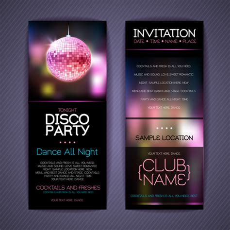 birthday invitation card design vector free download disco party invitation cards creative vector 01 vector
