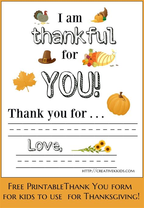 Sle Thank You Note To Kindergarten Giveaway For Free Thanksgiving Printables Creative K