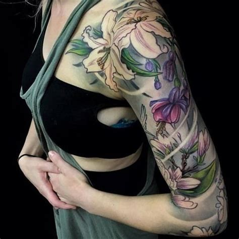 flower tattoo quarter sleeve 40 cool and pretty sleeve tattoo designs for women