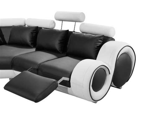 divani casa 4087 modern black and white bonded leather