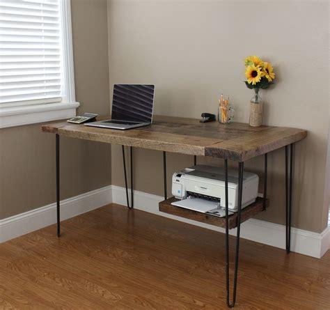 desk with printer shelf reclaimed oak modern desk this reclaimed oak desk
